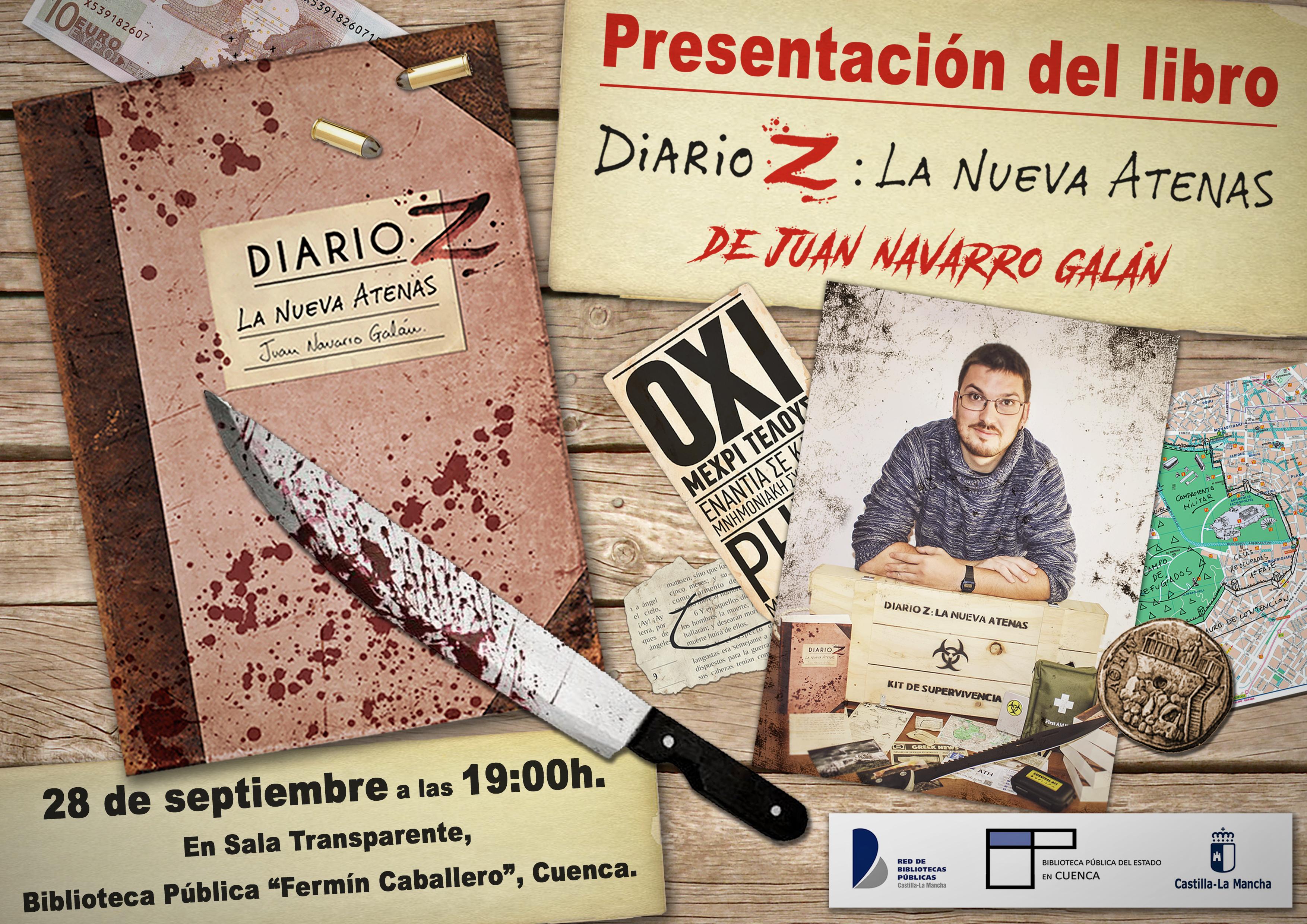 Cartel presentación libro Diario Z biblioteca